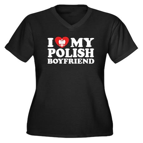 I Love My Polish Boyfriend Women's Plus Size V-Nec