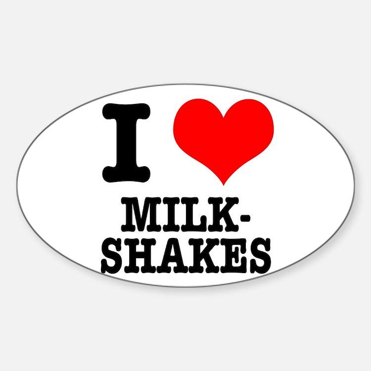I Heart (Love) Milkshakes Oval Decal