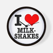 I Heart (Love) Milkshakes Wall Clock