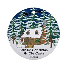 2014 1St Cabin Christmas Ornament (Round)