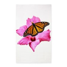 Hibiscus And Butterfly 3'X5' Area Rug