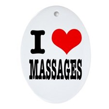 I Heart (Love) Massages Oval Ornament