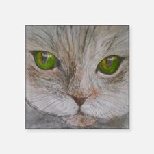 "Green Eyed Purr Square Sticker 3"" x 3"""