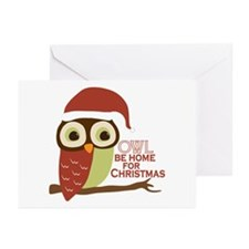 Owl Be Home For Christmas Greeting Cards (Pk of 20