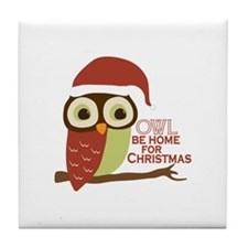Owl Be Home For Christmas Tile Coaster