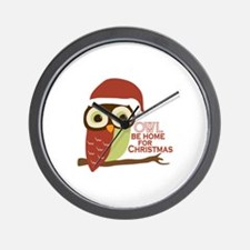 Owl Be Home For Christmas Wall Clock