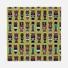 Colorful Tiki Mask Pattern Queen Duvet