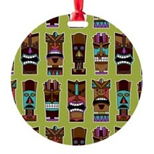 Colorful Tiki Mask Pattern Ornament