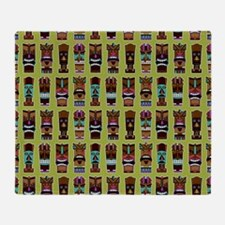Colorful Tiki Mask Pattern Throw Blanket