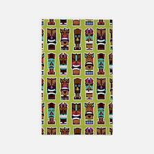 Colorful Tiki Mask Pattern 3'x5' Area Rug