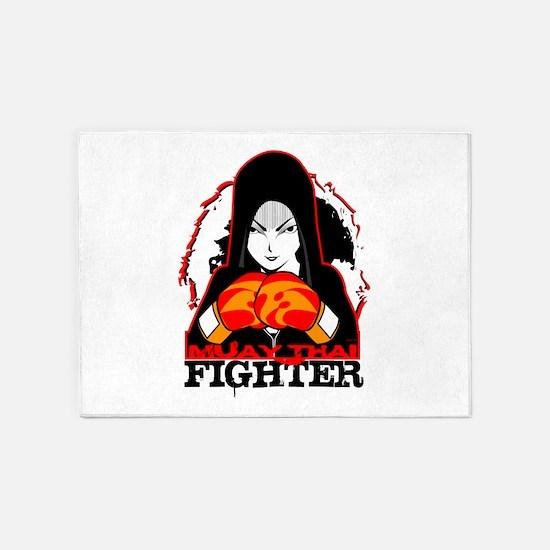 Muay Thai Fighter 5'x7'Area Rug