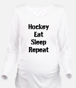 Hockey Eat Sleep Repeat Long Sleeve Maternity T-Sh
