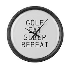 Golf Eat Sleep Repeat Large Wall Clock