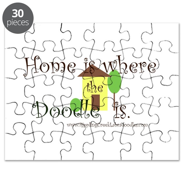 Throw Pillow Home Is Where The Doodle Is : Home Is Where The Doodle Is Puzzle by RipplingCreekLabradoodles