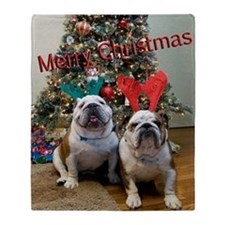 English Bulldog Christmas Throw Blanket