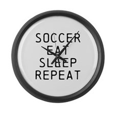 Soccer Eat Sleep Repeat Large Wall Clock