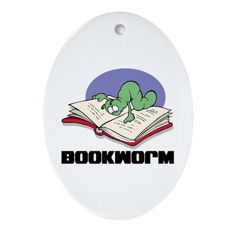 Bookworm Book Lovers Oval Ornament