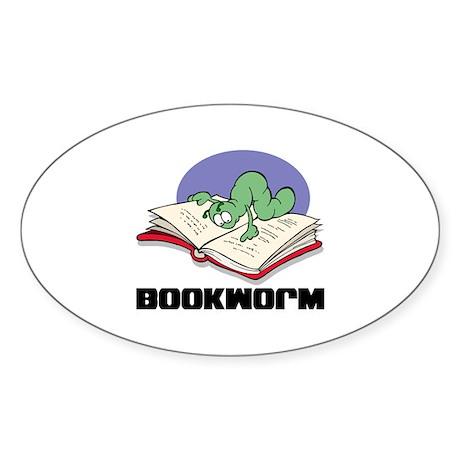 Bookworm Book Lovers Oval Sticker