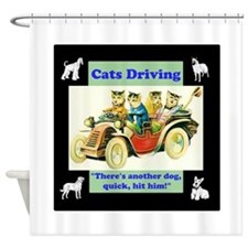 When Cats Drive Shower Curtain
