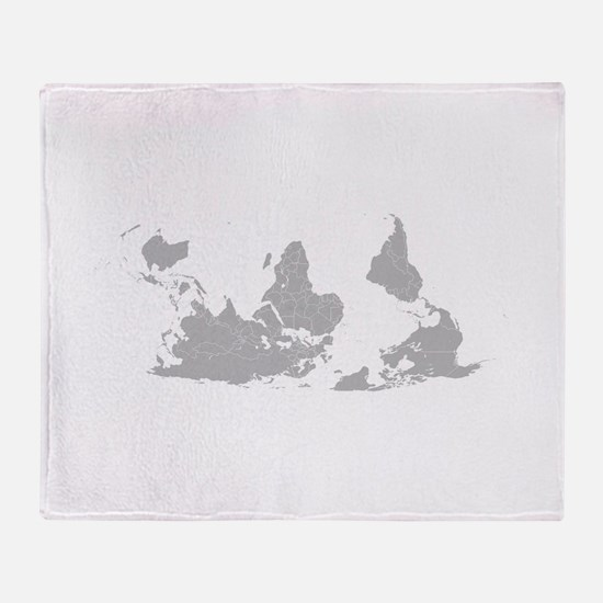 Blank-map-world-south-up.png Throw Blanket