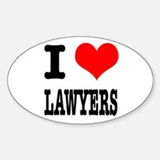 I Heart (Love) Lawyers Oval Decal