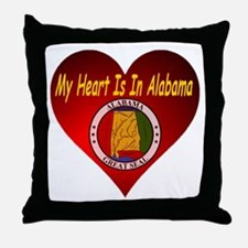My Heart Is In Alabama Throw Pillow