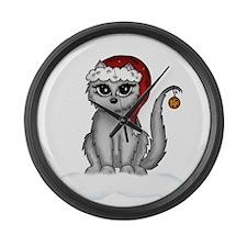 christmas cat Large Wall Clock