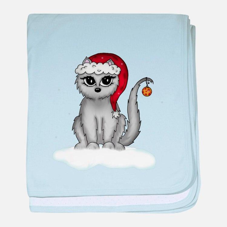 christmas cat baby blanket