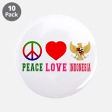 "Peace Love Indonesia 3.5"" Button (10 pack)"