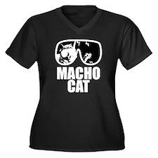 Macho Cat Women's Plus Size Dark V-Neck T-Shirt