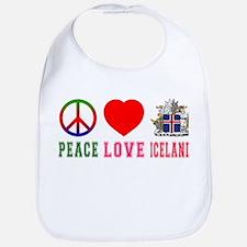 Peace Love Iceland Bib
