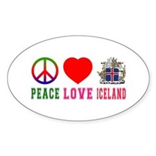 Peace Love Iceland Decal