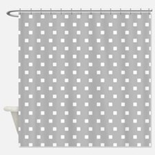 Grey and White Squares Shower Curtain