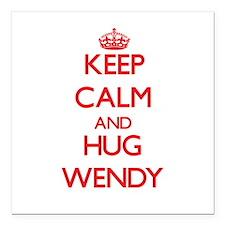 "Keep Calm and Hug Wendy Square Car Magnet 3"" x 3"""