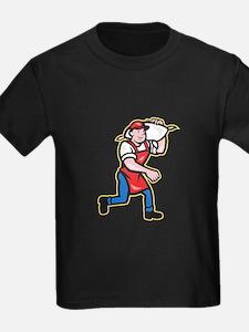 Flour Miller Carry Sack Walking Cartoon T-Shirt