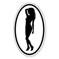 Sexy Woman Standing Oval Decal
