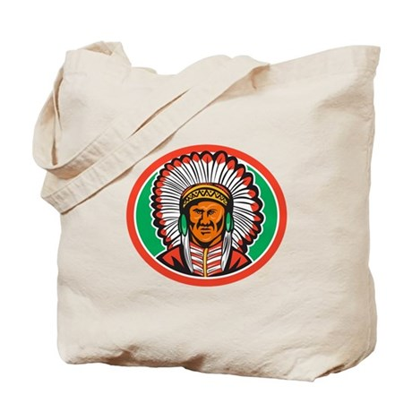 Native American Indian Chief Headdress Tote Bag