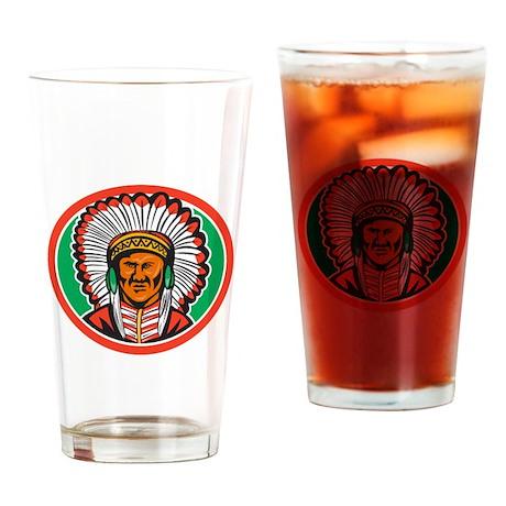 Native American Indian Chief Headdress Drinking Gl