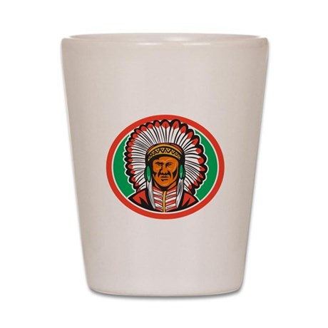 Native American Indian Chief Headdress Shot Glass