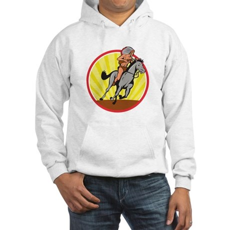 Native American Indian Chief Riding Horse Hoodie