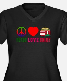 Peace Love Hungary Women's Plus Size V-Neck Dark T