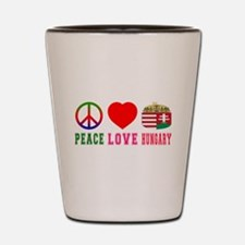 Peace Love Hungary Shot Glass