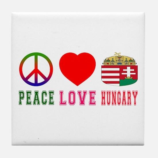 Peace Love Hungary Tile Coaster
