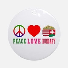 Peace Love Hungary Ornament (Round)