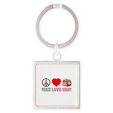 Peace Love Hungary Square Keychain