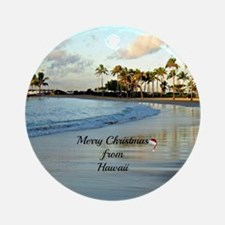 Merry Christmas from Hawaii, Waikik Round Ornament