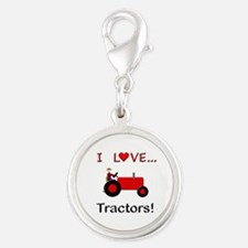 I Love Red Tractors Silver Round Charm