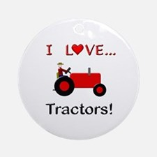 I Love Red Tractors Ornament (Round)