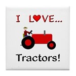 I Love Red Tractors Tile Coaster