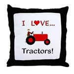 I Love Red Tractors Throw Pillow